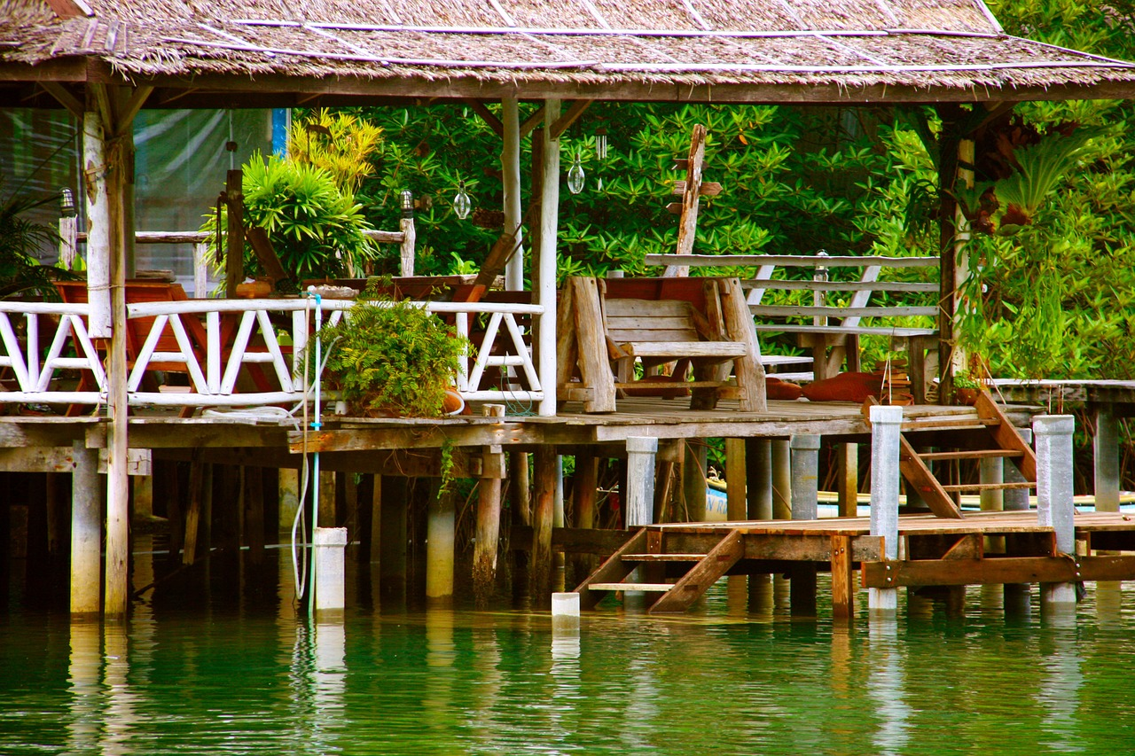 river wood building jetty free photo
