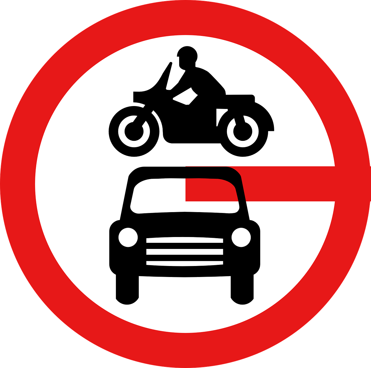 road signs no motor vehicles road free photo