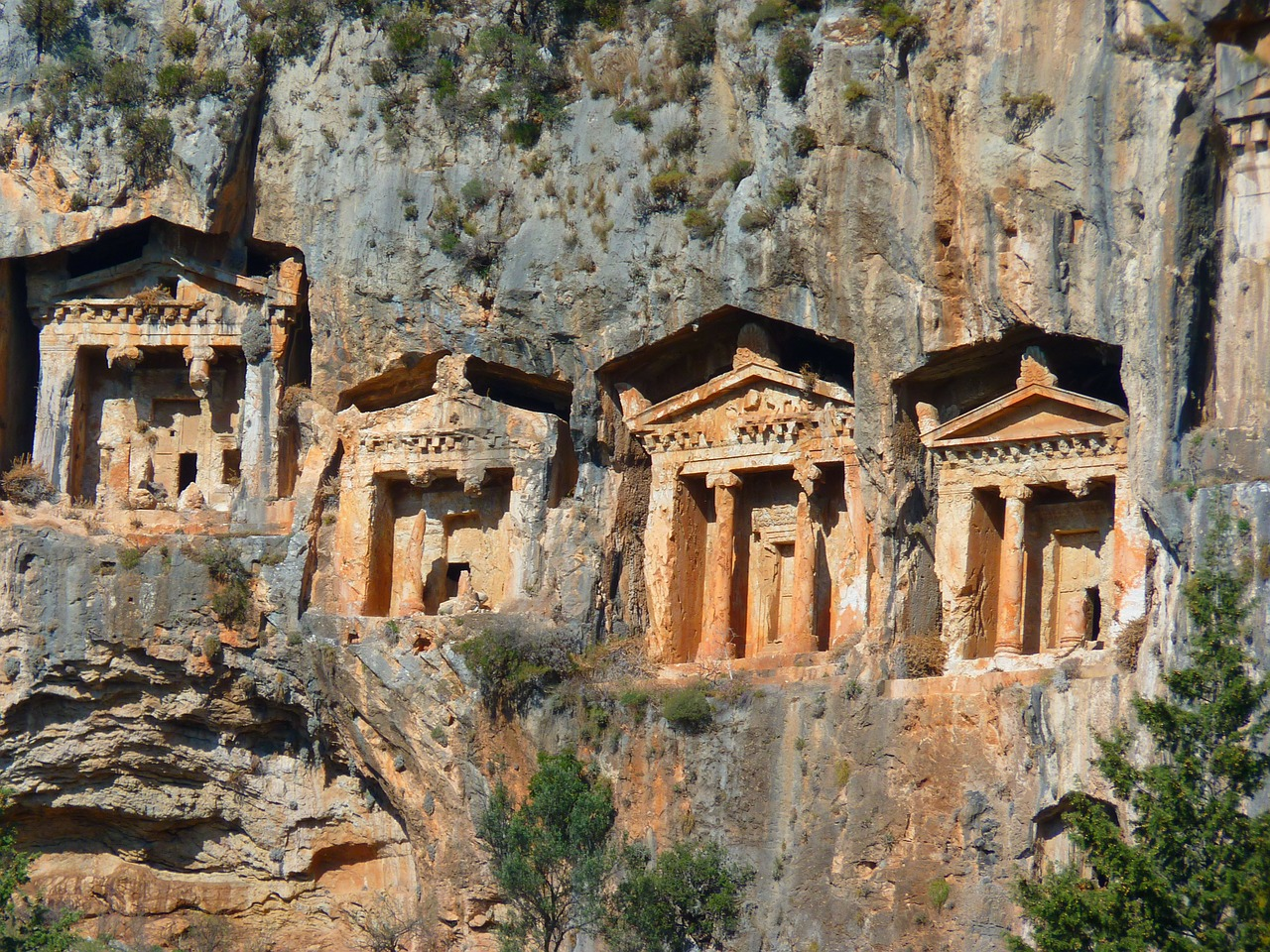 rock tombs,temple,columnar,caves buildings,rock,historically,carian rock tombs,dalyan,turkey,cultural sites,antiquity,kaunos,ruins,free pictures, free photos, free images, royalty free, free illustrations, public domain