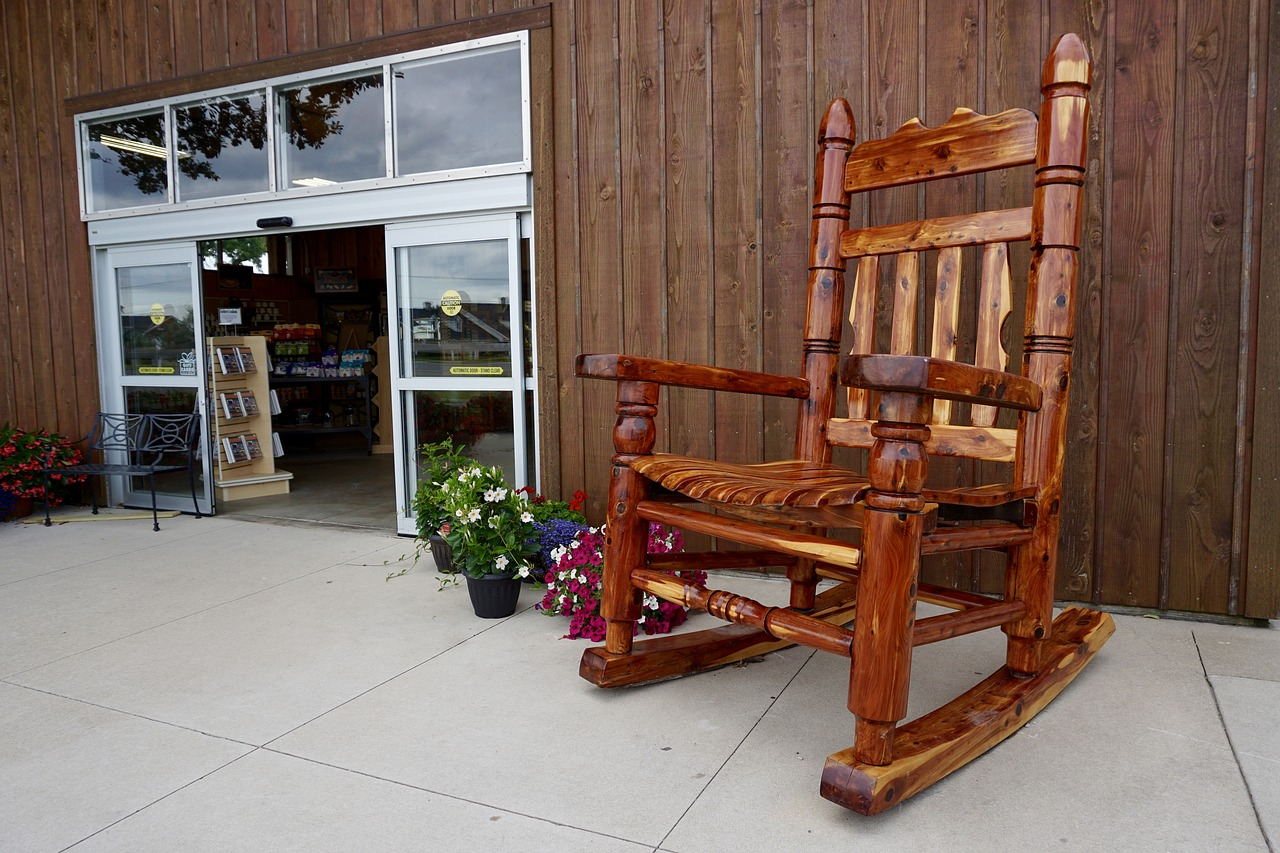 rocking chair store front rocker free photo