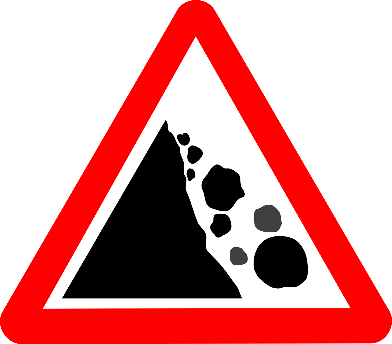 rockslide sign warning sign danger zone free photo
