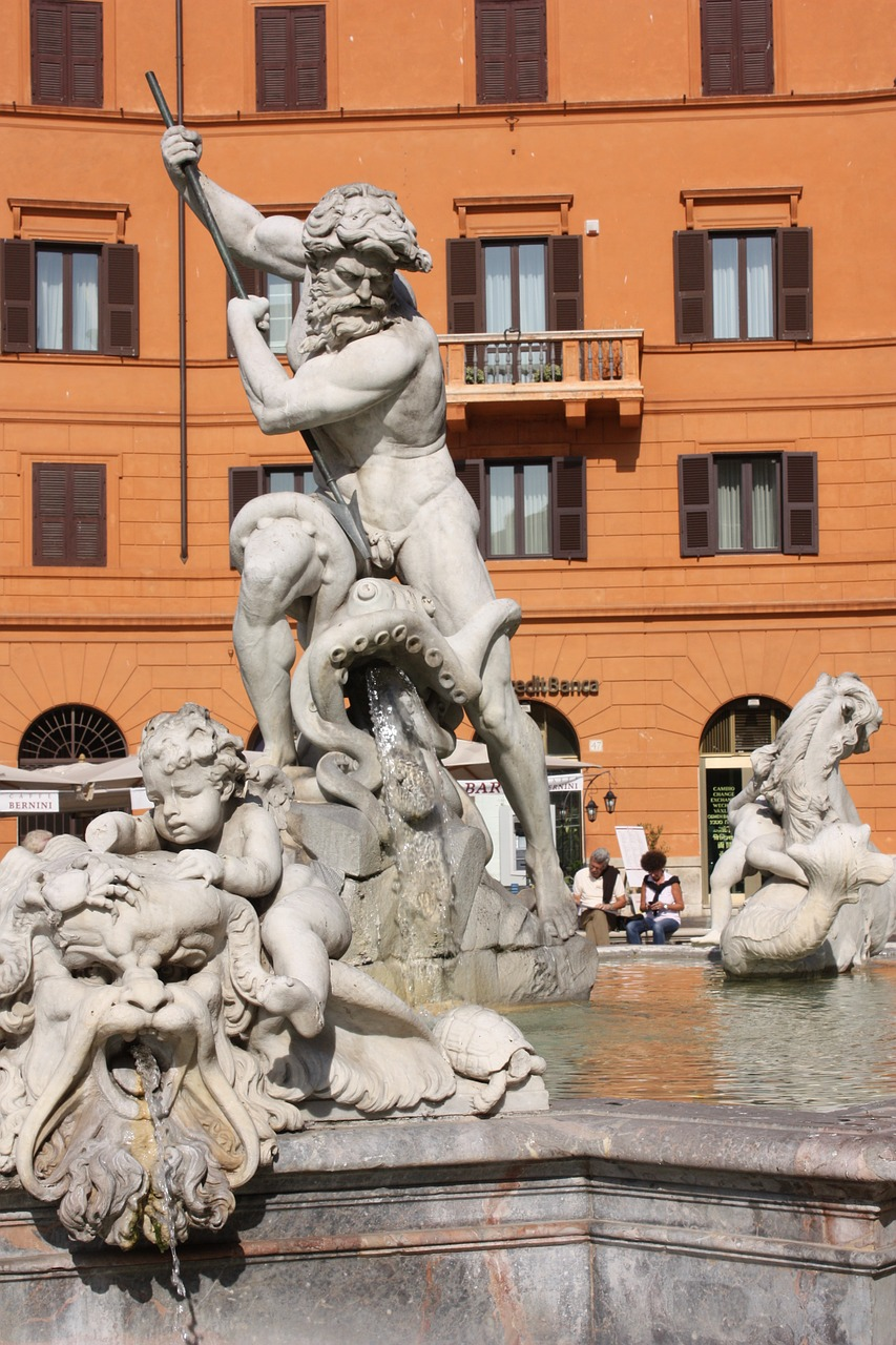 rome,piazza navona,statue,baroque,neptune,fight,fontana,marble,free pictures, free photos, free images, royalty free, free illustrations, public domain