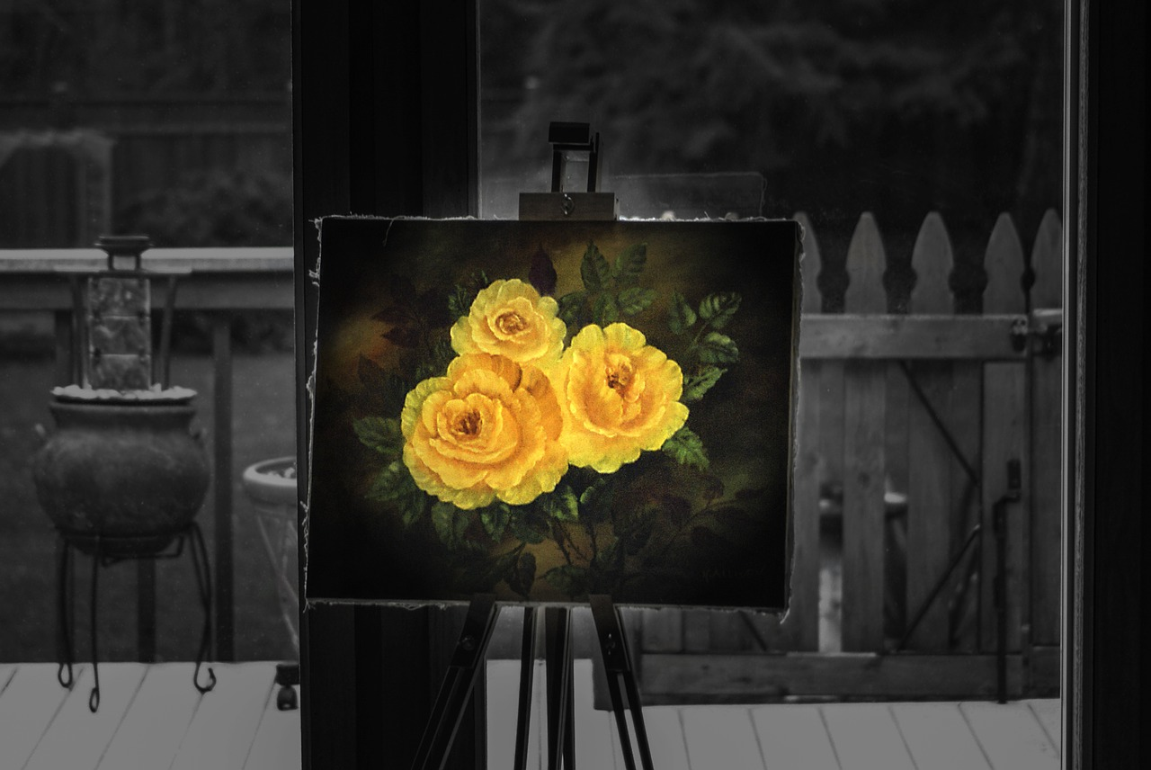 easel painting rose free photo