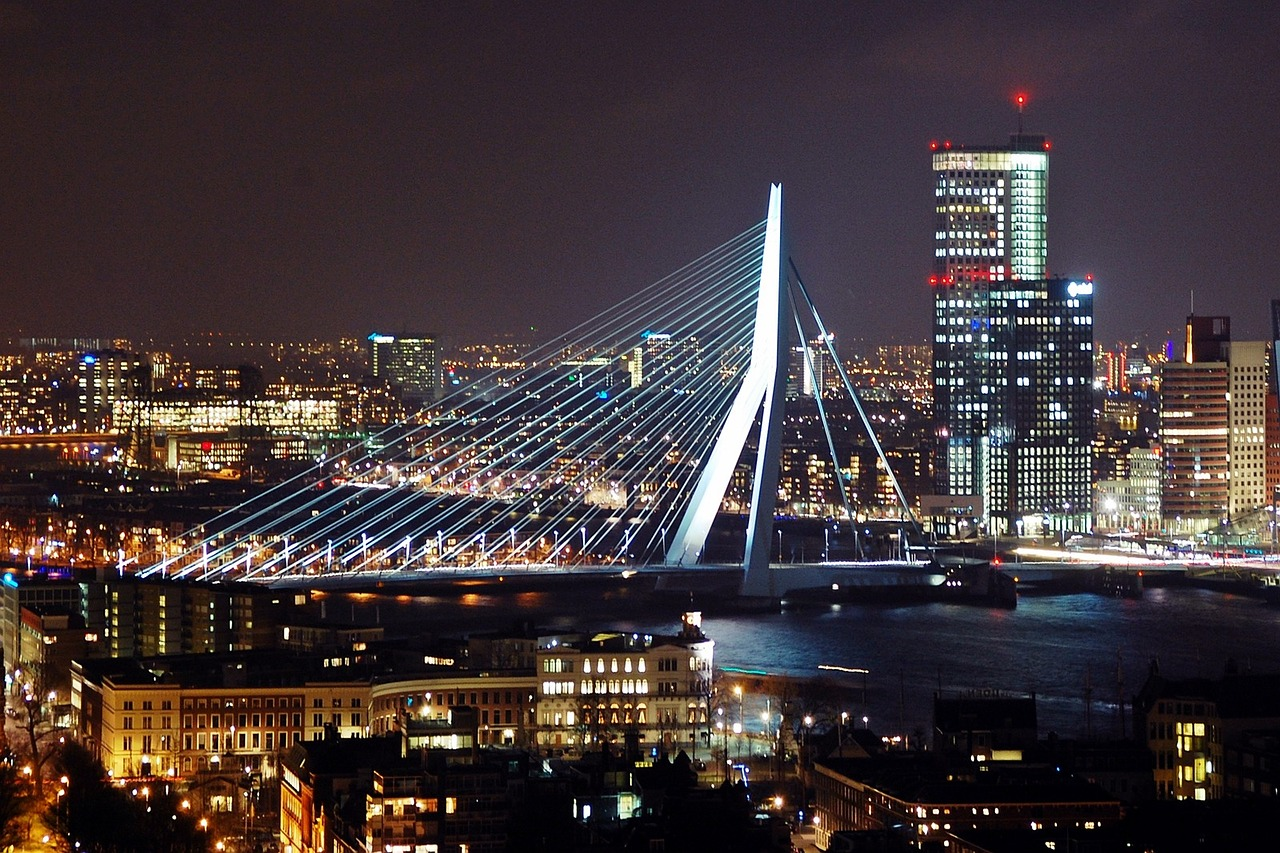 rotterdam bridge architecture free photo