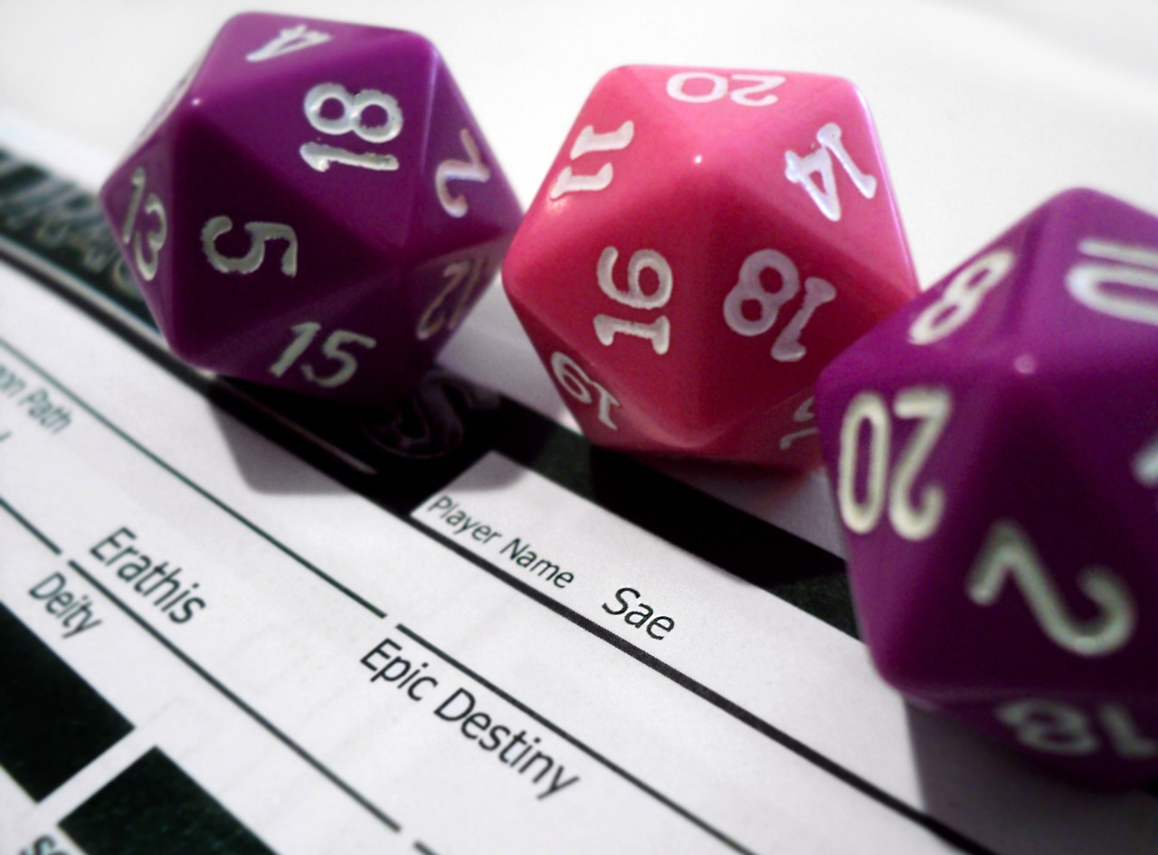 rpg,game,play,dice,dungeons,dragons,die,number,d20,fantasy,paper,playing,object,player sheet,girly dice,pink dice,purple dice,free pictures, free photos, free images, royalty free, free illustrations, public domain