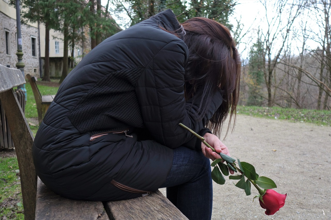 sad girl red rose lonely free photo