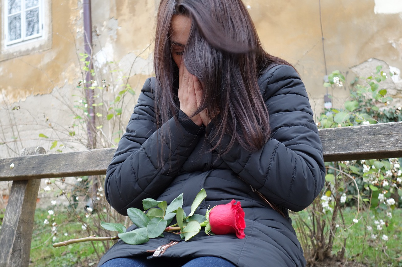 Sad girl,red rose,lost love,lonely,depressive - free image from ...