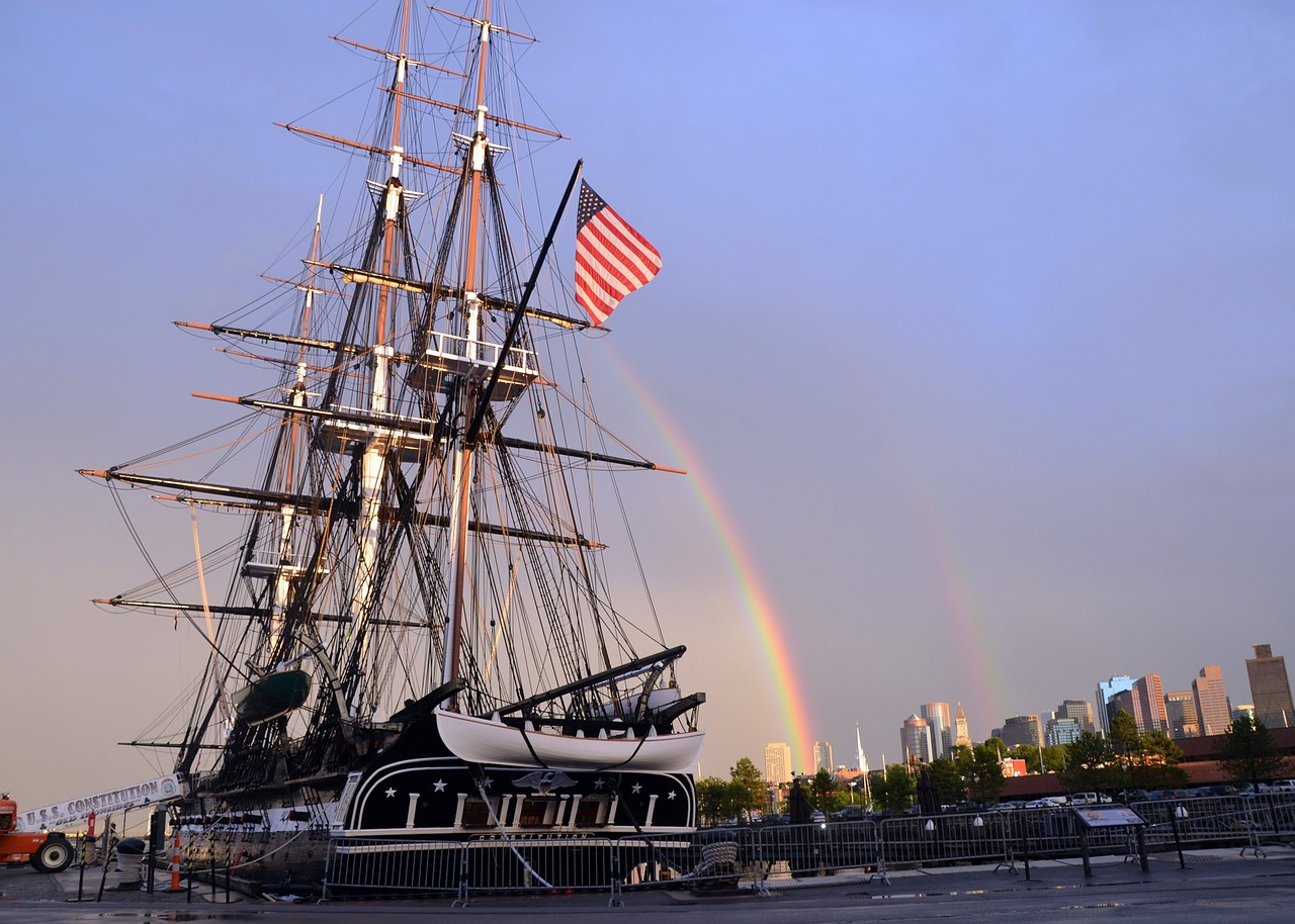 sailing ship ship uss constitution rainbow frigate free photo from