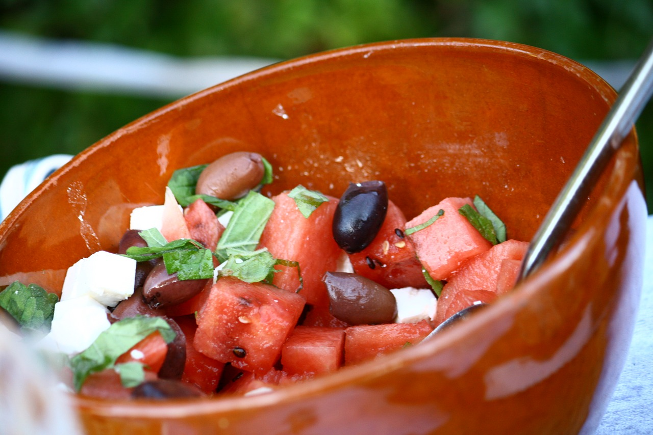 salad olives water melon free photo