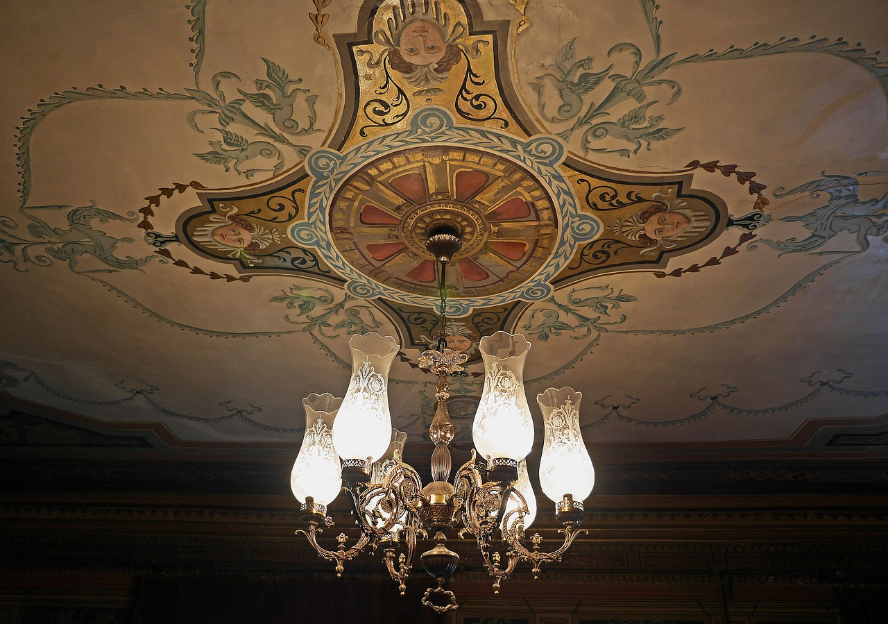 salon  cover painting  chandelier free photo
