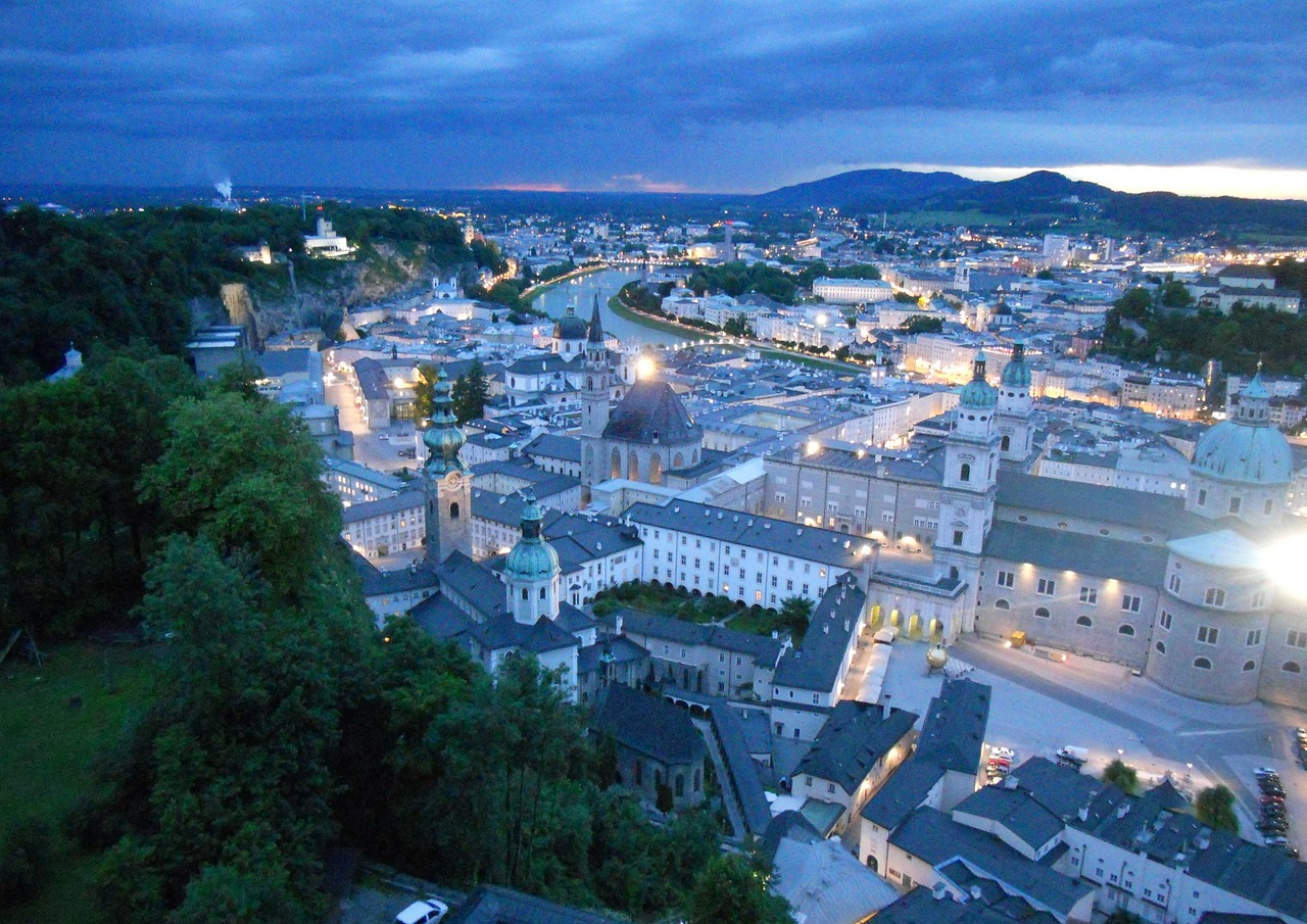 salzburg night hohensalzburg fortress free photo