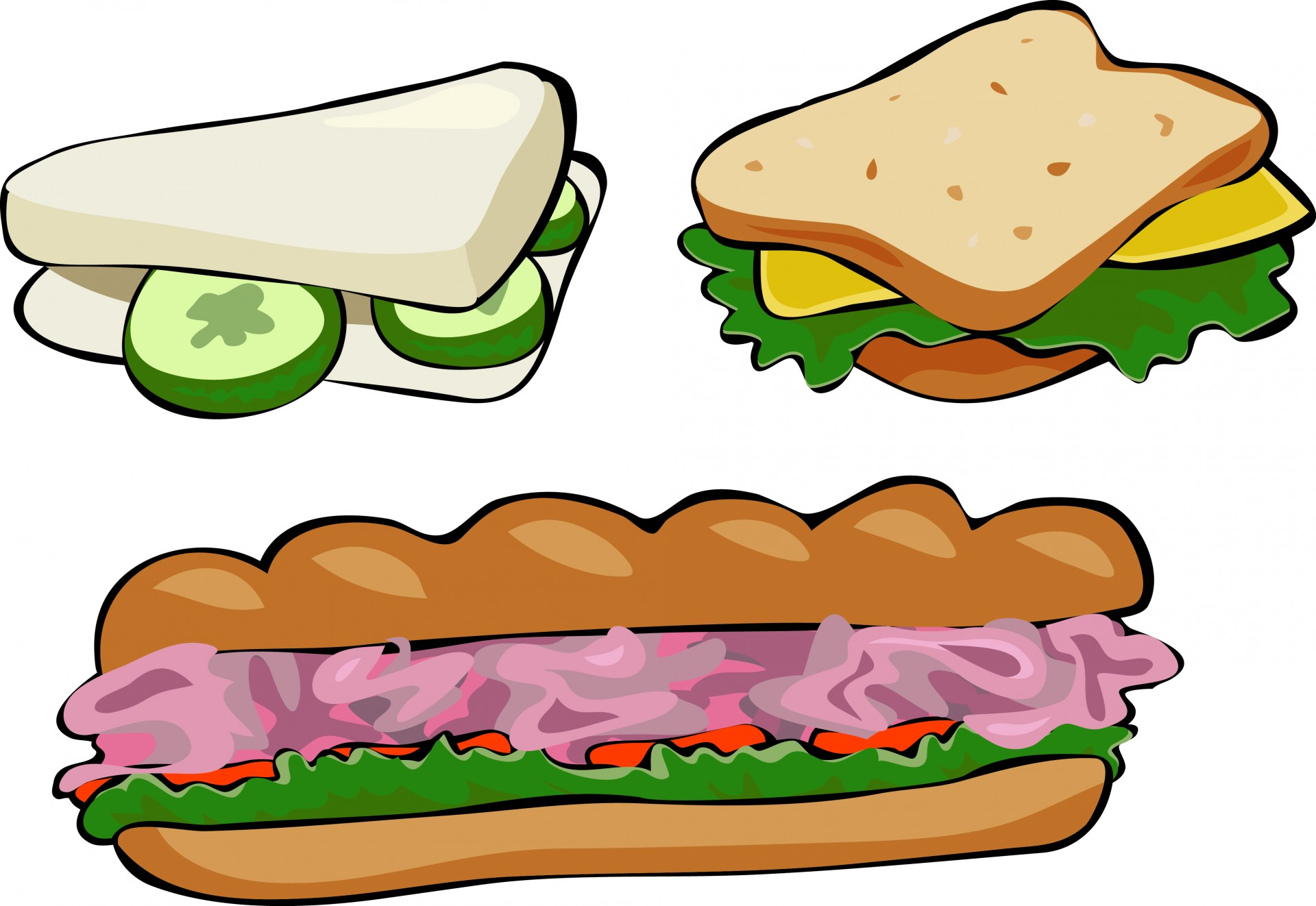 clipart of school lunch sandwiches