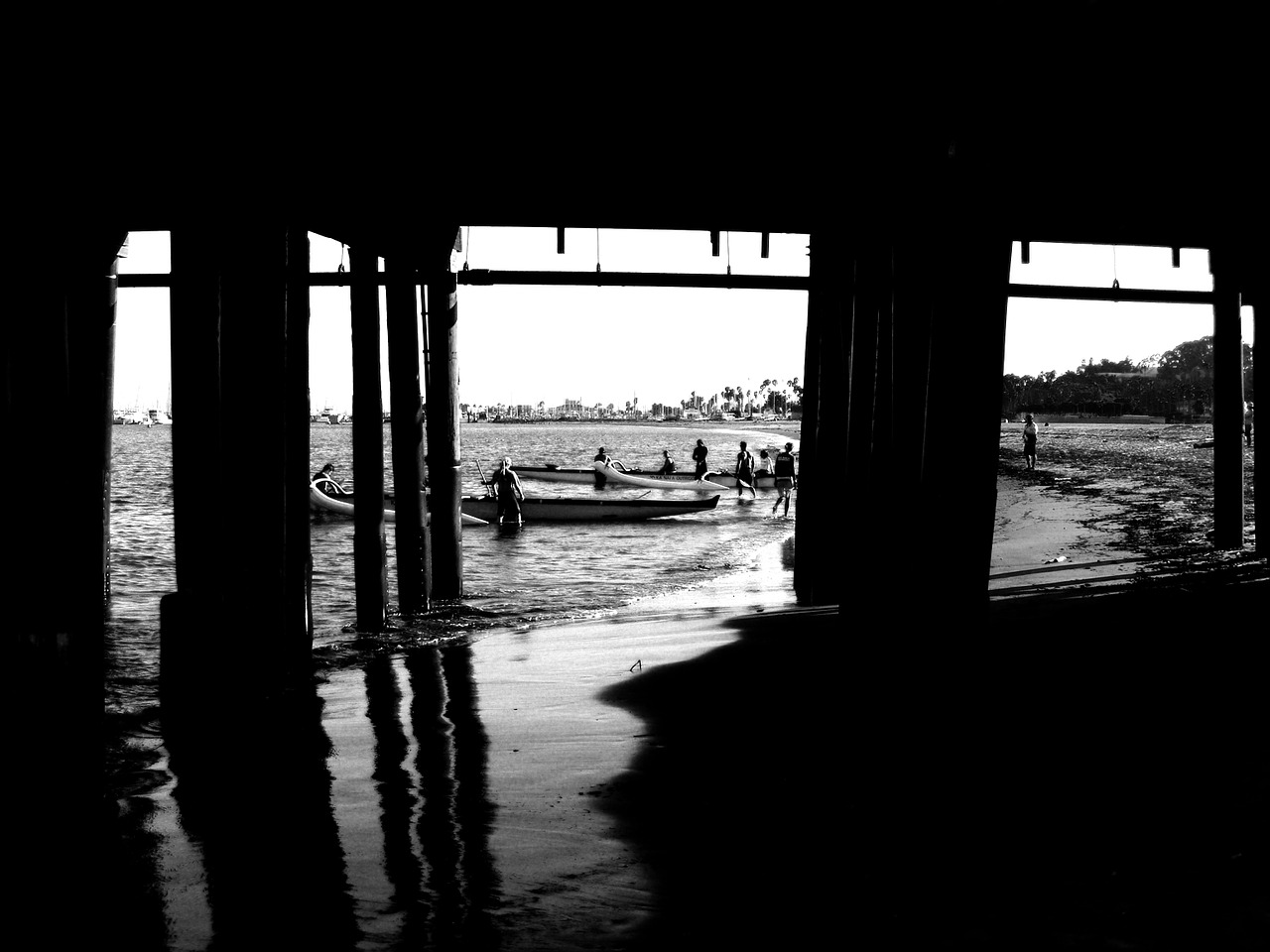 santa monica pier california rowing team free picture