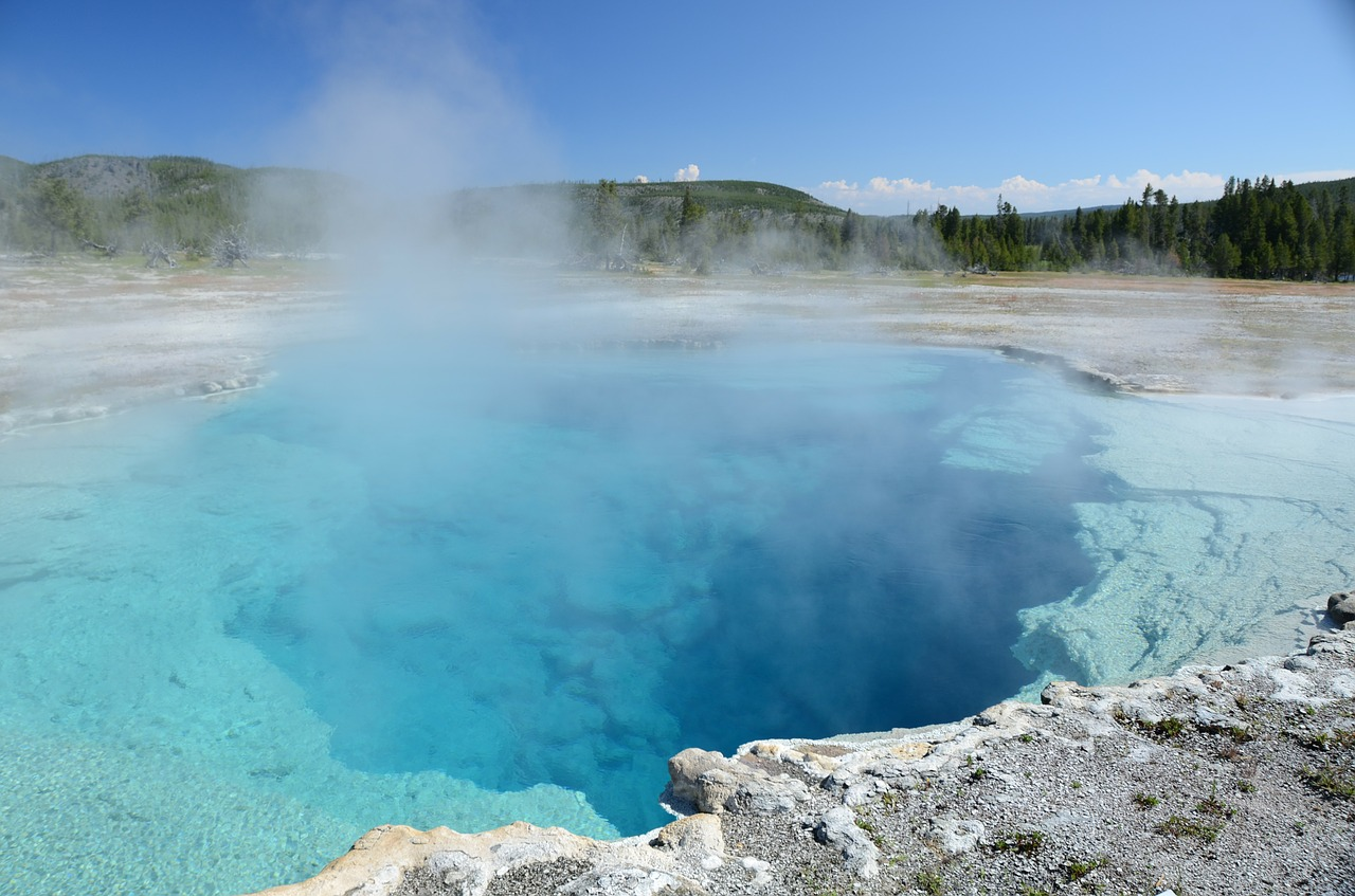 sapphire pool thermal feature yellowstone free photo