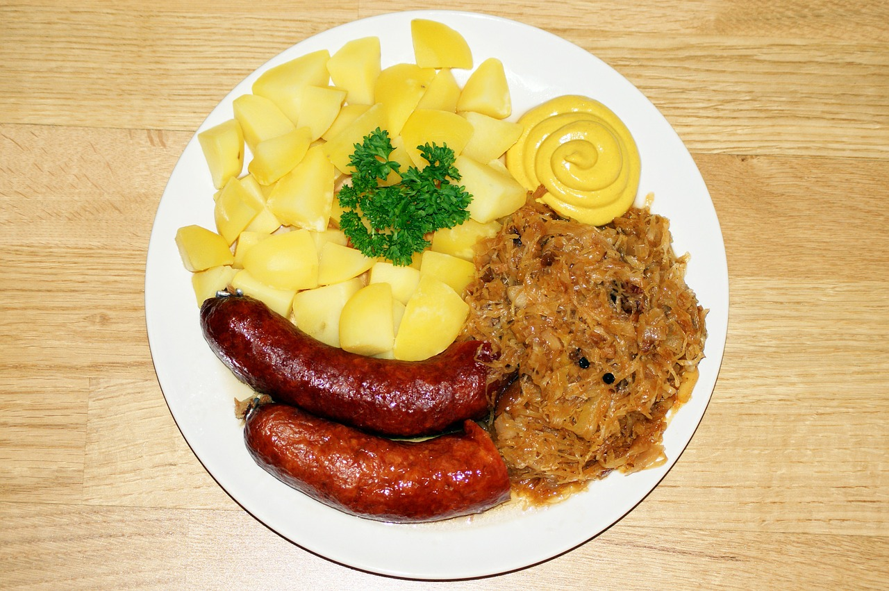sausage sauerkraut potatoes free photo