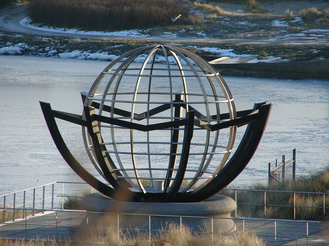 sculpture globe denmark free photo