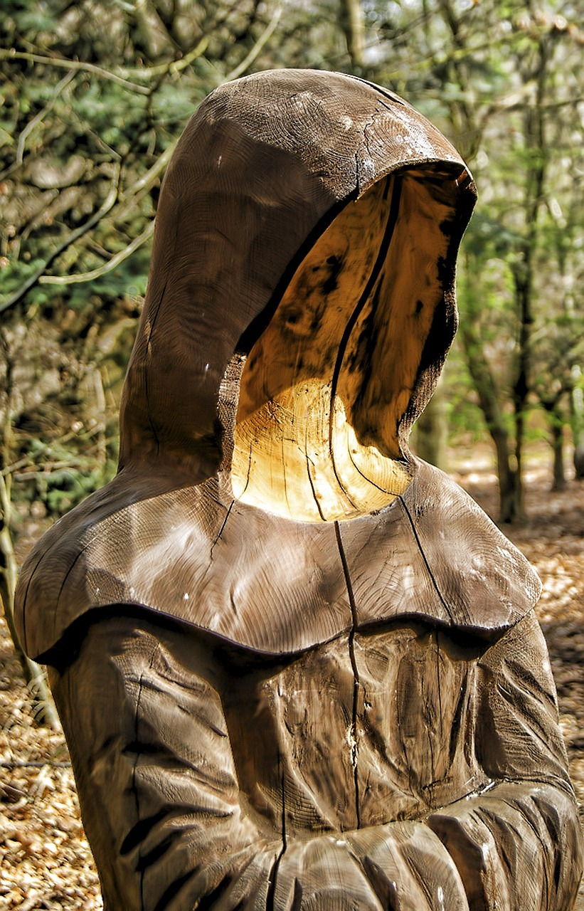 sculpture wood monk free photo