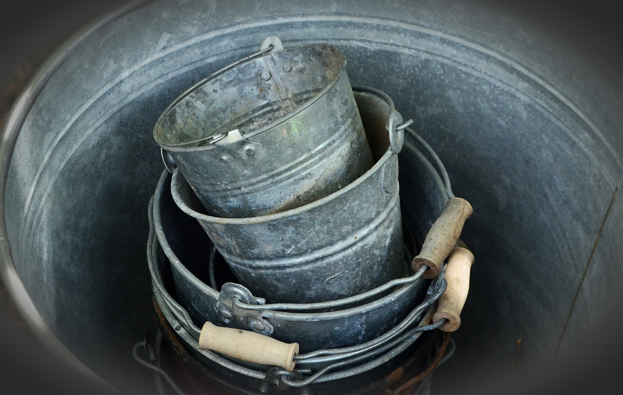 sheet metal bucket old free photo