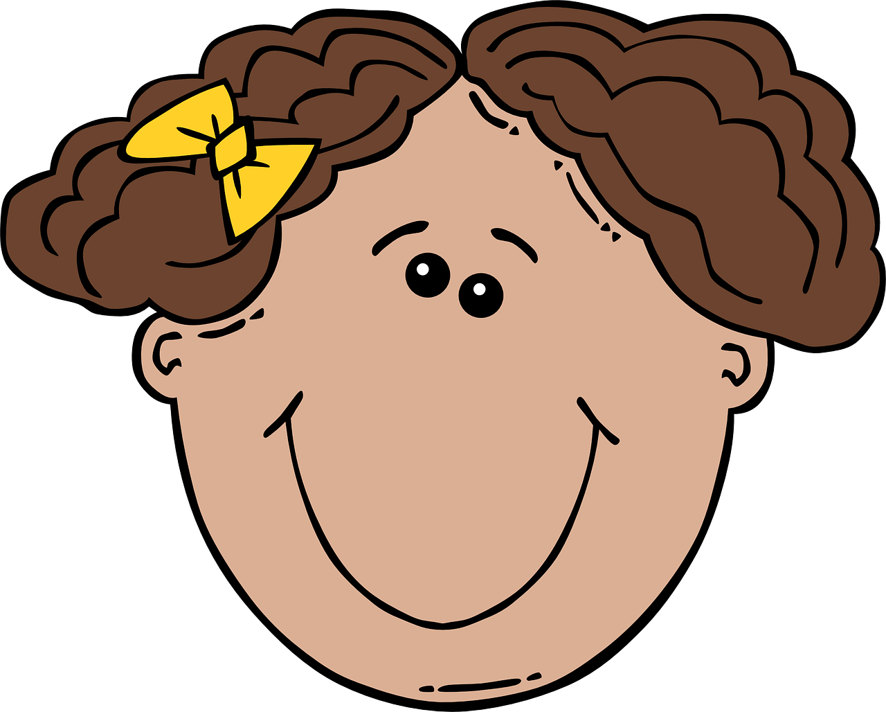 short haired,face,front view,curly,barrette,girl,young,happiness,brunette,bow,yellow,free vector graphics,free pictures, free photos, free images, royalty free, free illustrations, public domain