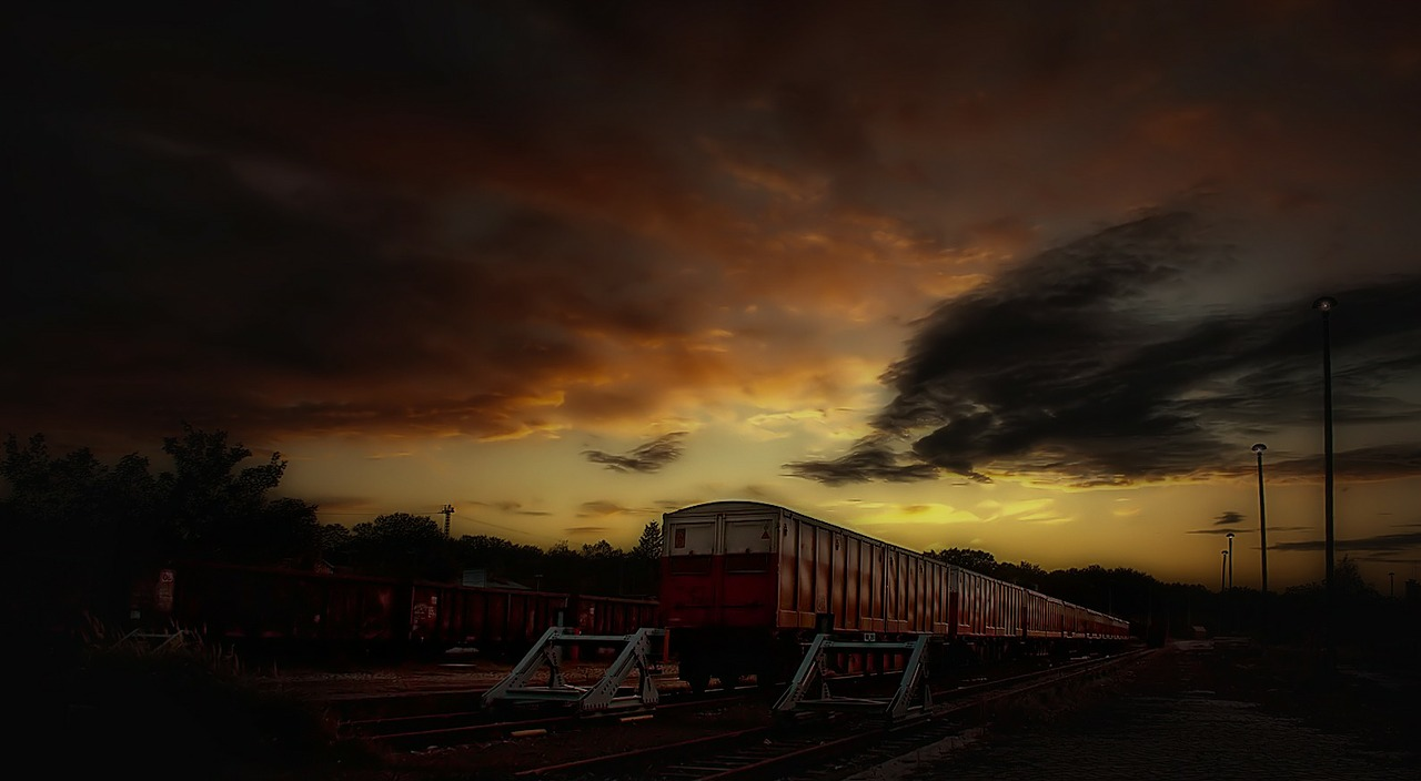 siding train night free photo