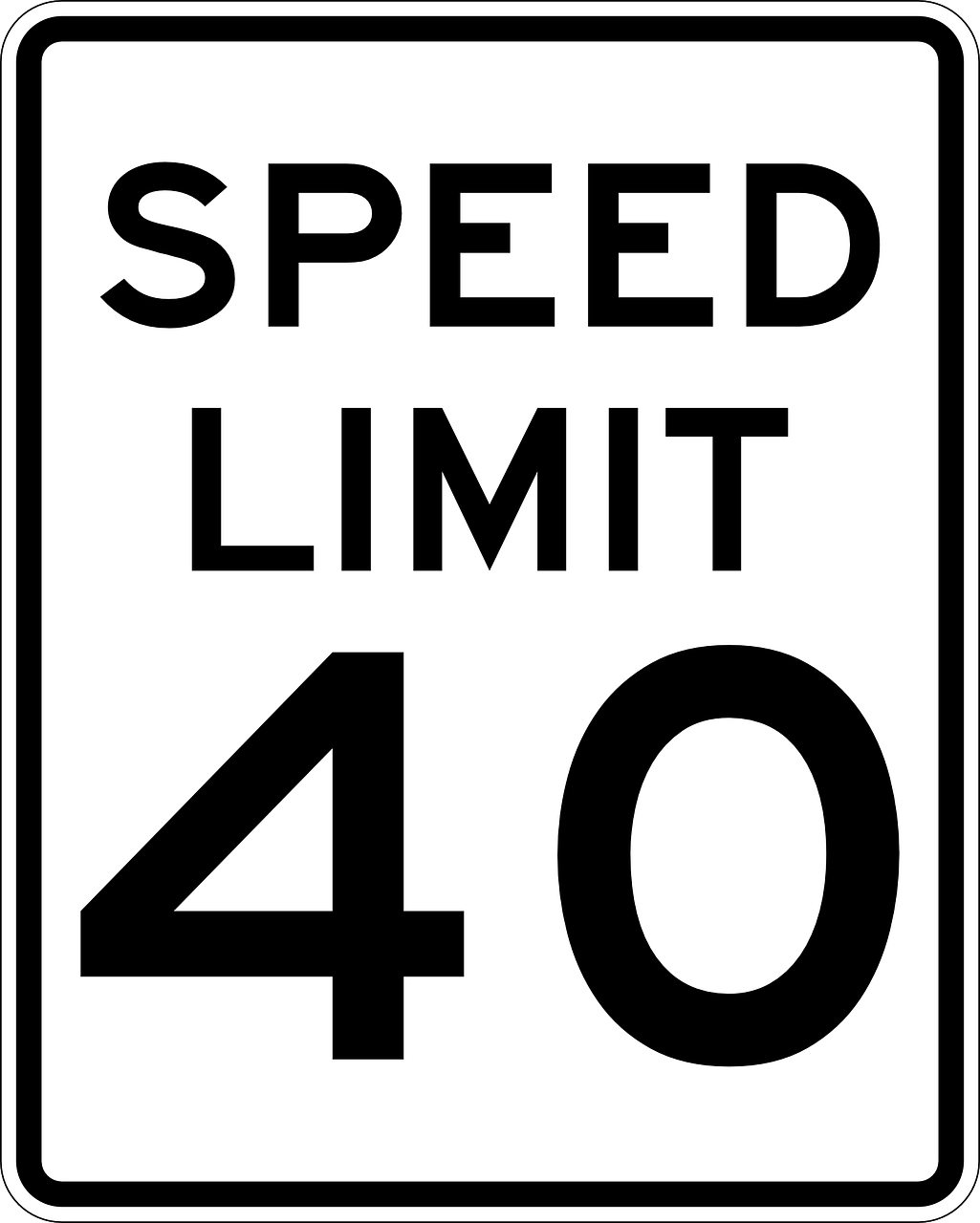 sign speed limit fourty miles free photo