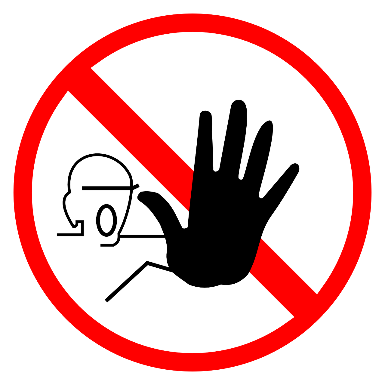 sign,stop,halt,warning,hand,forbidden,symbol,direction,red,circle,round,free vector graphics,free pictures, free photos, free images, royalty free, free illustrations, public domain
