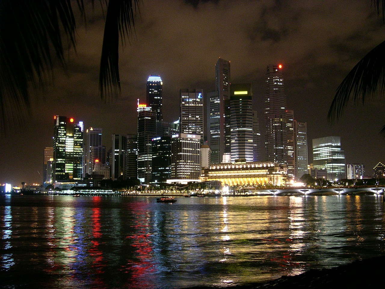 singapore,city,sea,view,night,lighting,skyscrapers,skyscraper,lights,long exposure,free pictures, free photos, free images, royalty free, free illustrations, public domain