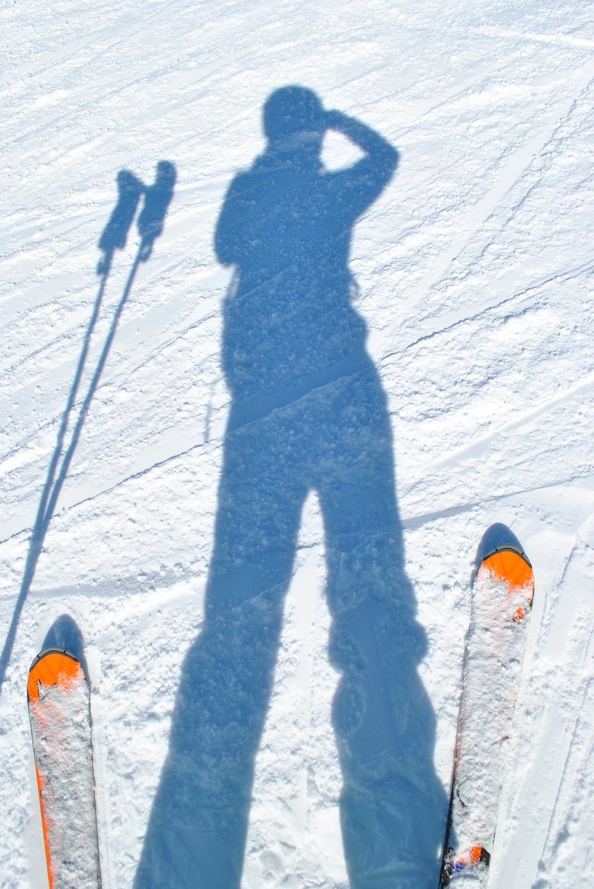 skiing skiers shadow free photo