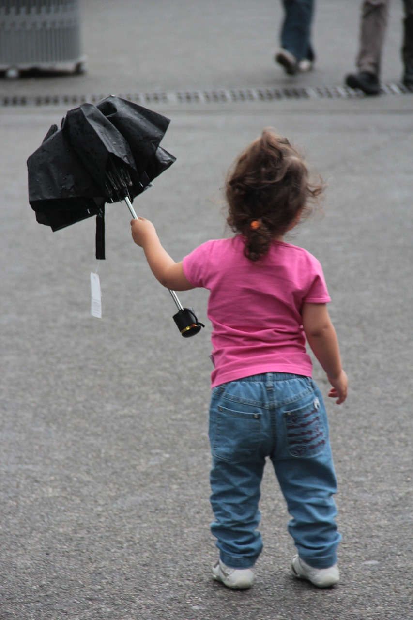 small child umbrella autumn free photo
