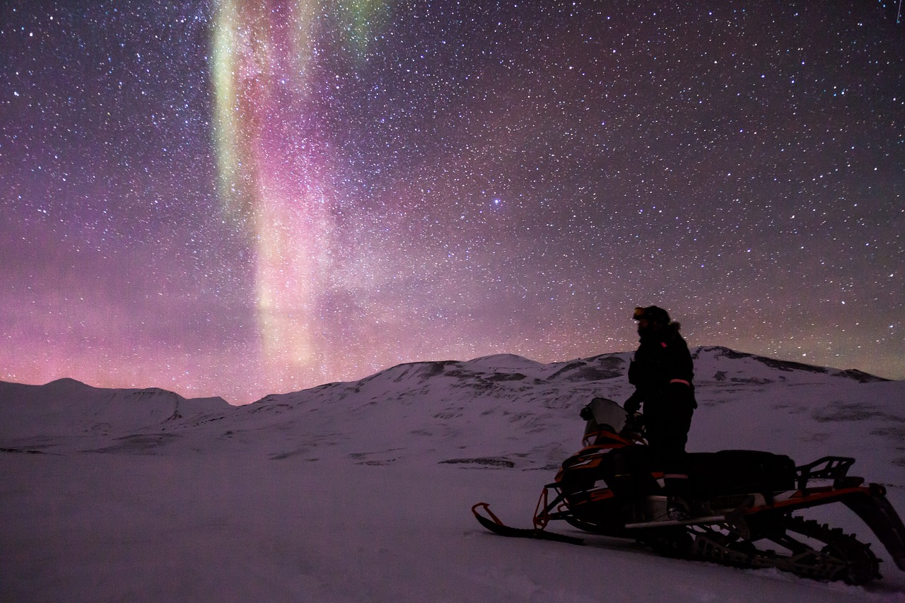 snowmobile aurora auroras free photo
