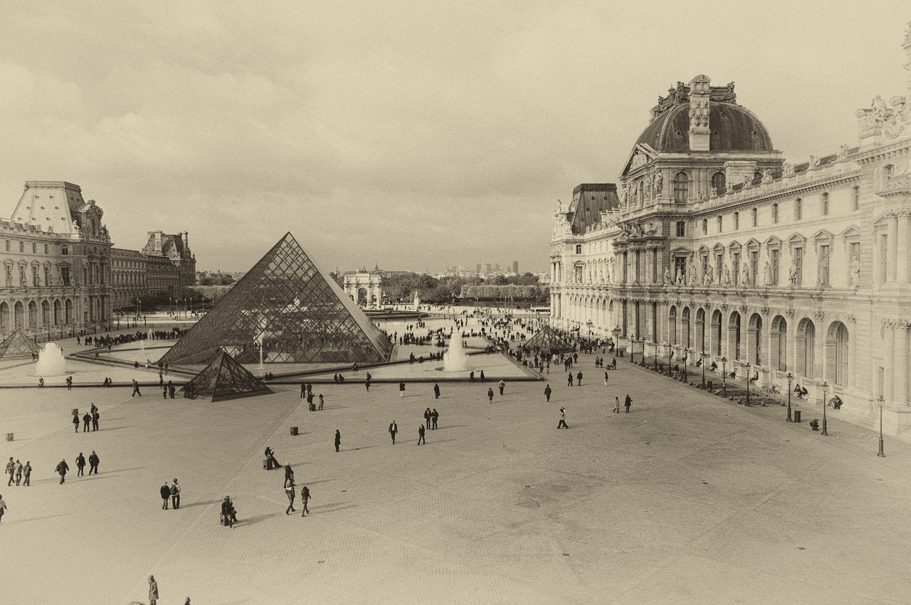 space louvre pyramid free photo
