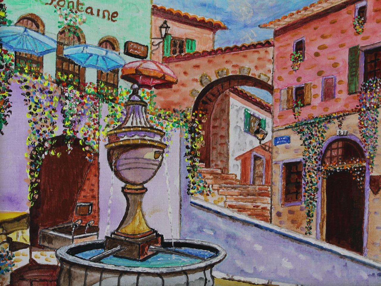 Saint Paul De Vence Art download free photo of st paul de vence,place,fountain
