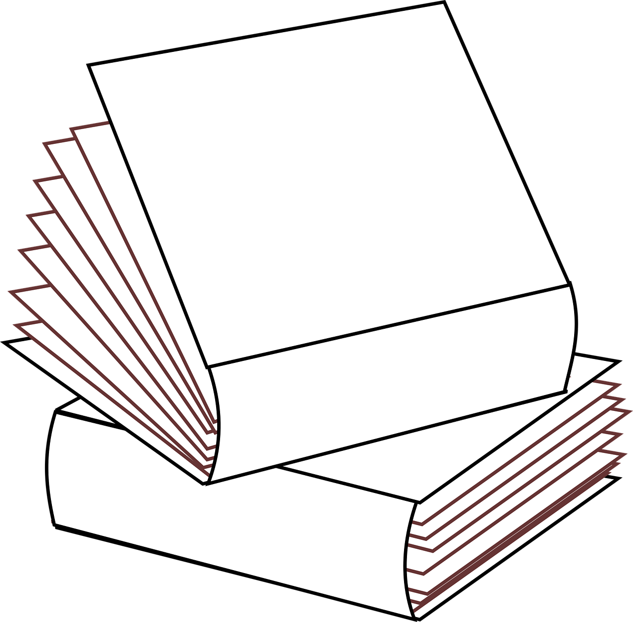Stacked 2 books no colors,stacked books,multiple books,books clipart ...