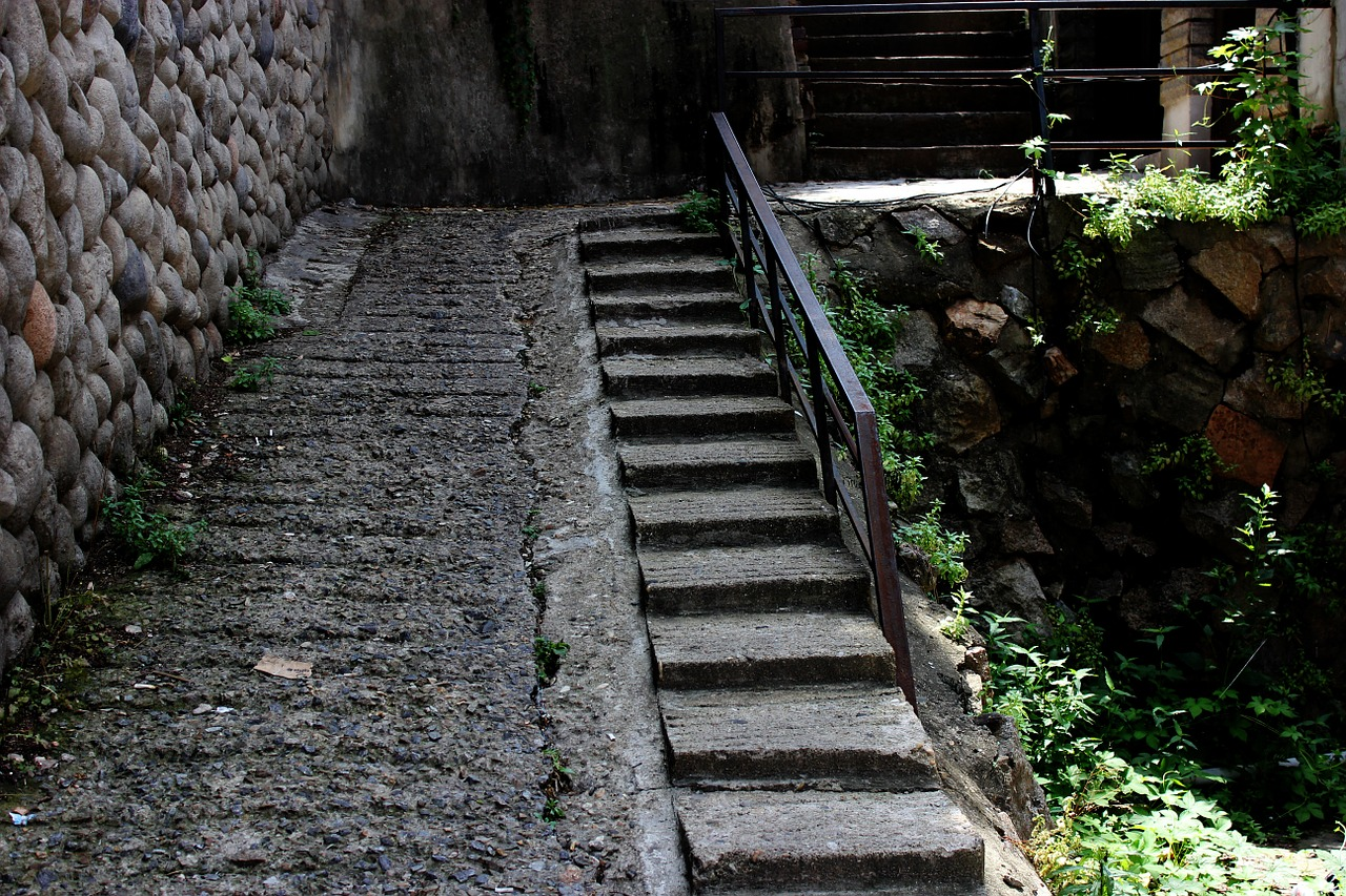 stairs republic of korea stone wall free picture