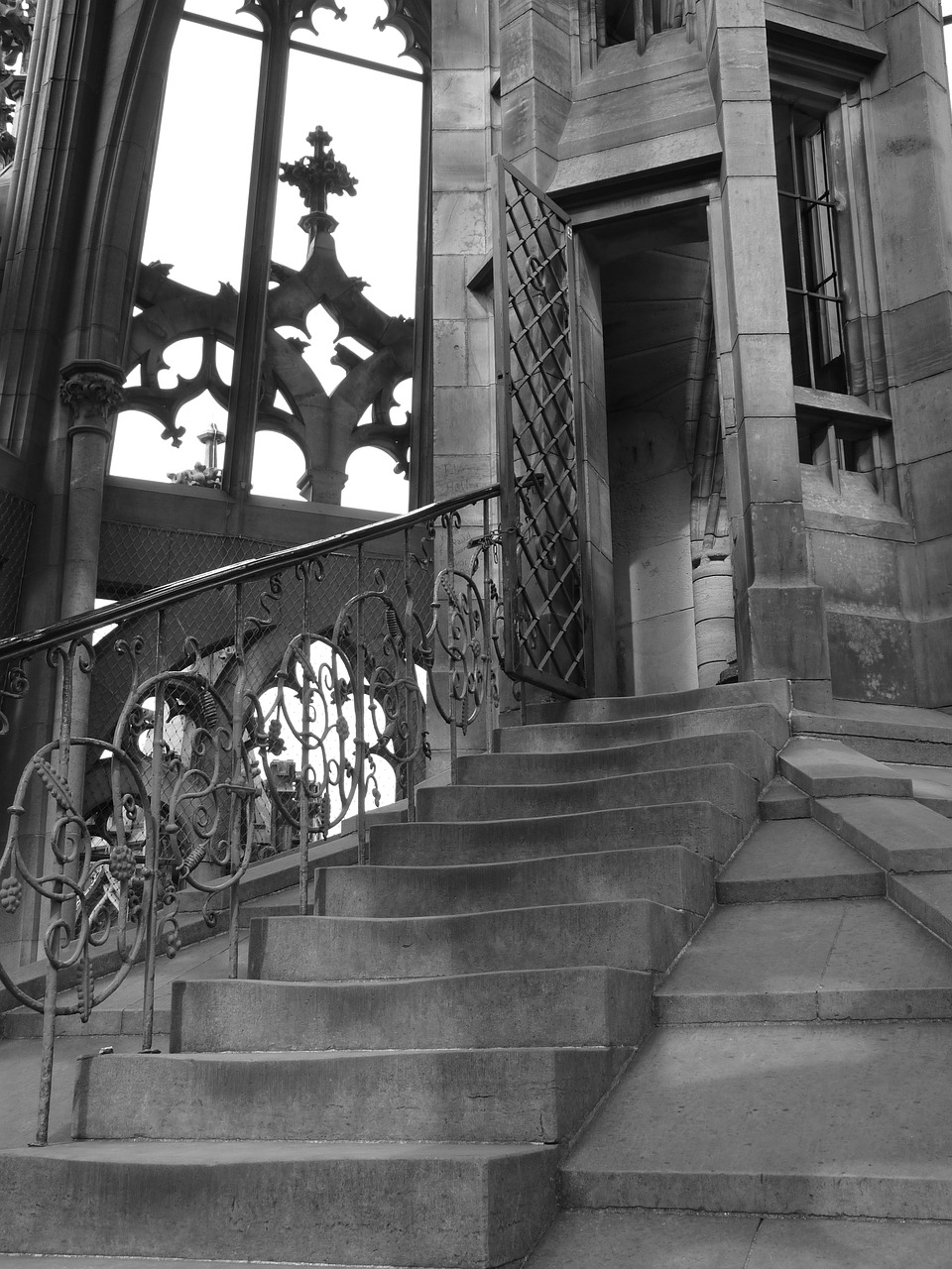 stairs railing ulm cathedral free photo