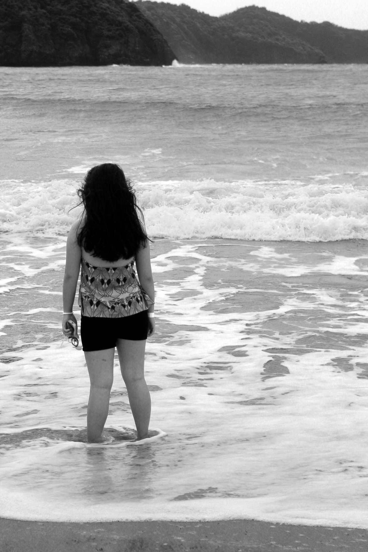 Standing alone girl black white free picture