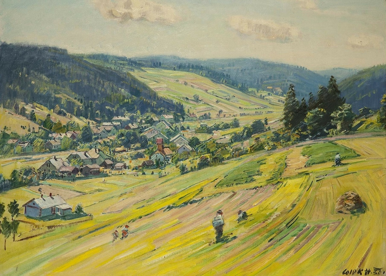 stanislav lolek,landscape,painting,art,artistic,artistry,oil on canvas,sky,clouds,trees,nature,outside,scenic,country,countryside,mountains,village,people,farm,rural,hills,summer,spring,free pictures, free photos, free images, royalty free, free illustrations, public domain