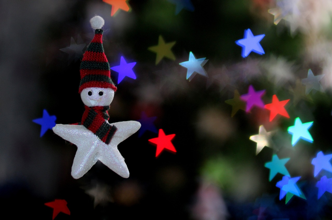 star bokeh decorations free photo