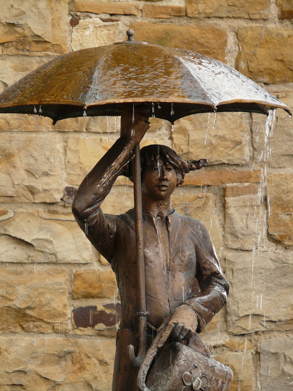 statue bronze umbrella free picture