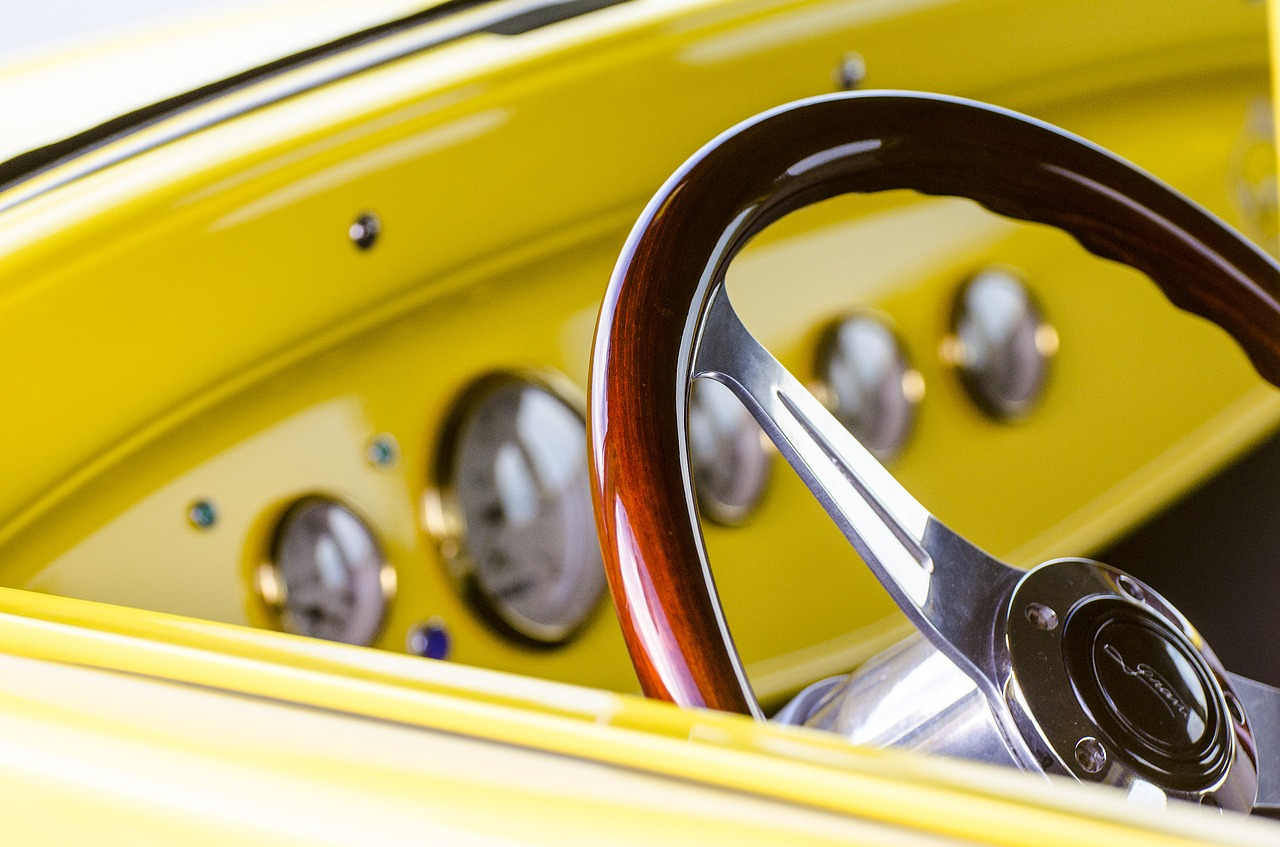 steering wheel classic car hot rod free photo