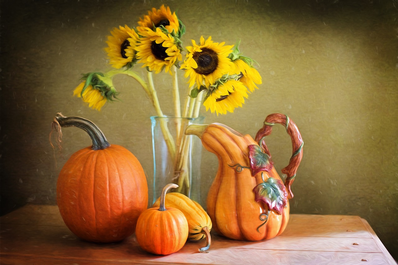 still life,still-life,autumn,fall,pumpkins,sunflowers,natural,still,life,fresh,nature,free pictures, free photos, free images, royalty free, free illustrations, public domain