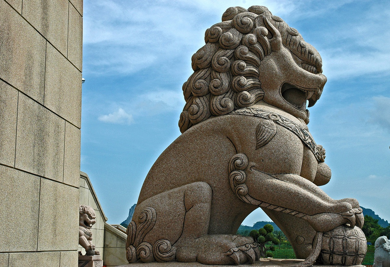 stone figure sculpture lion free photo