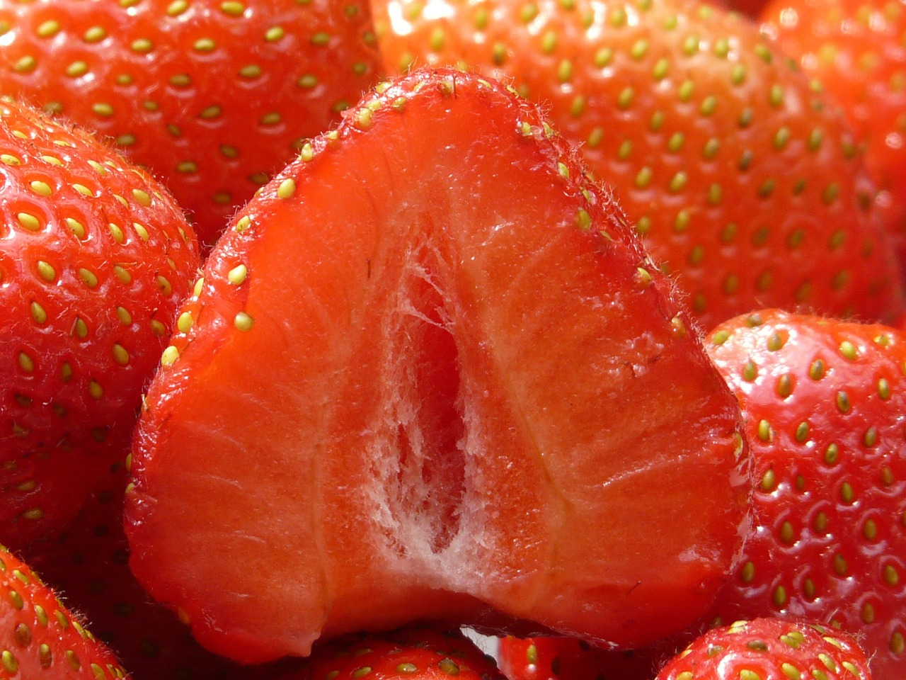 strawberries cut in half fruity free photo