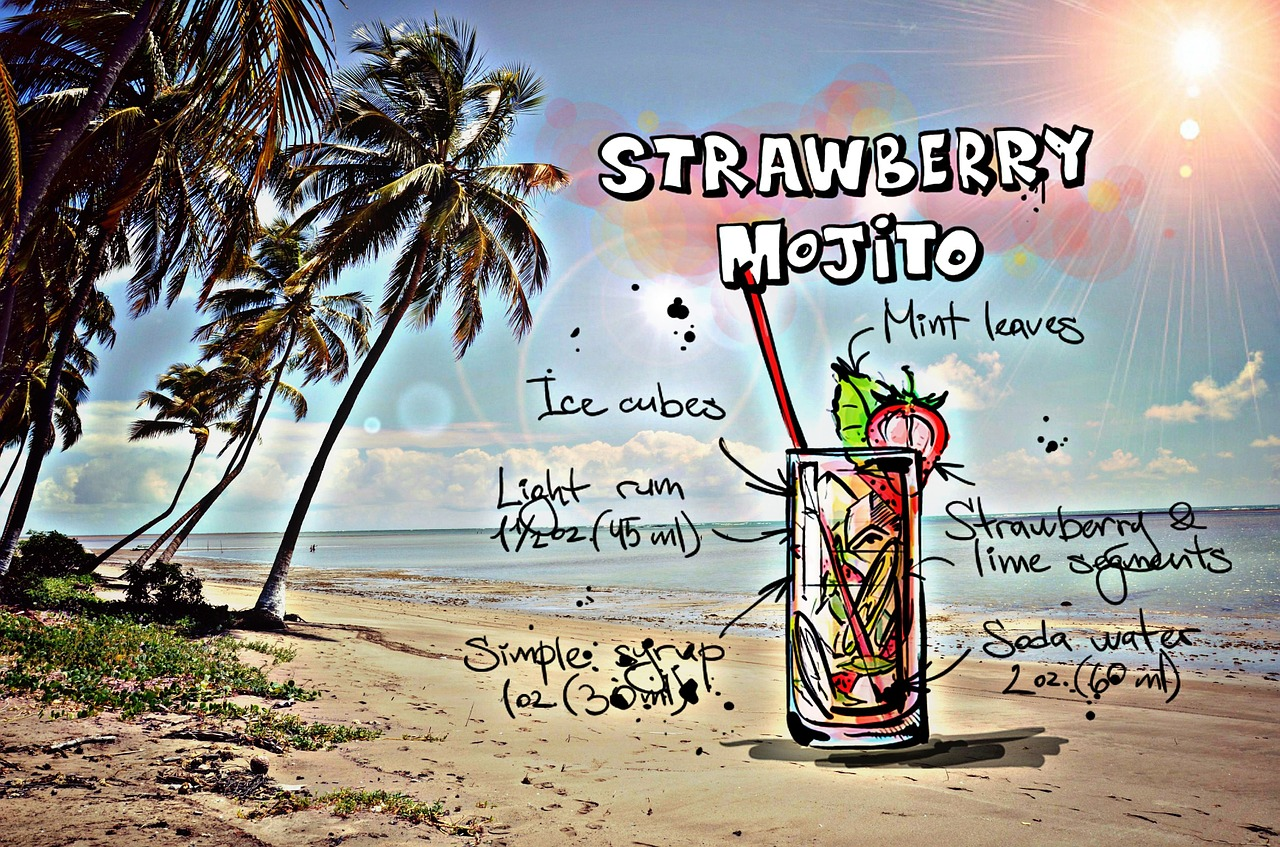 strawberry mojito cocktail drink free photo