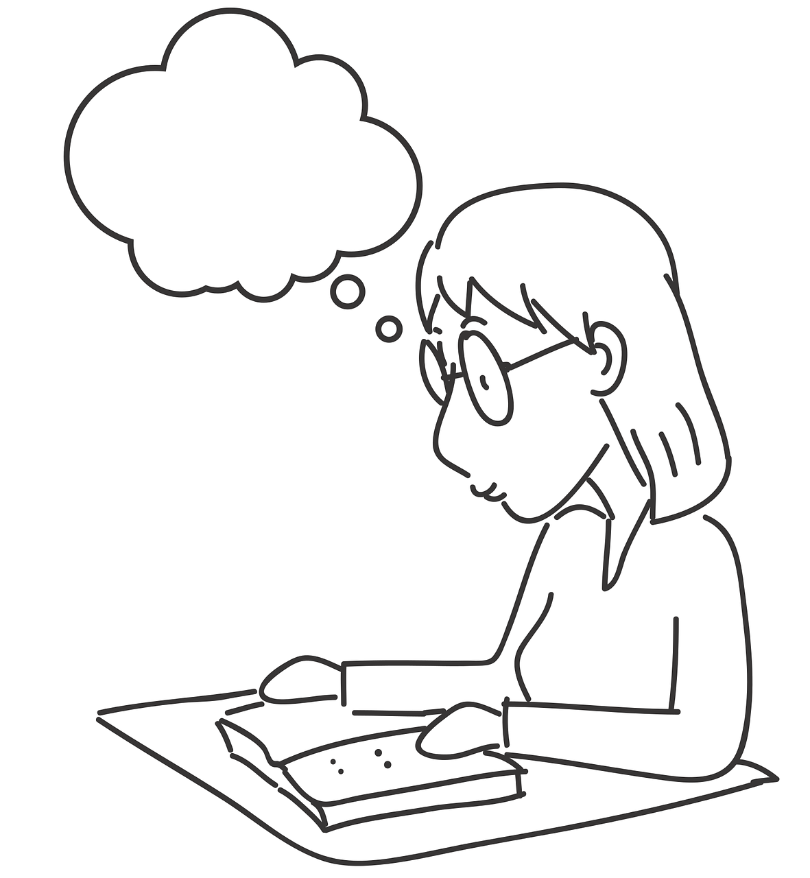 Study Profile Girls Reading Line Drawings Free Image From
