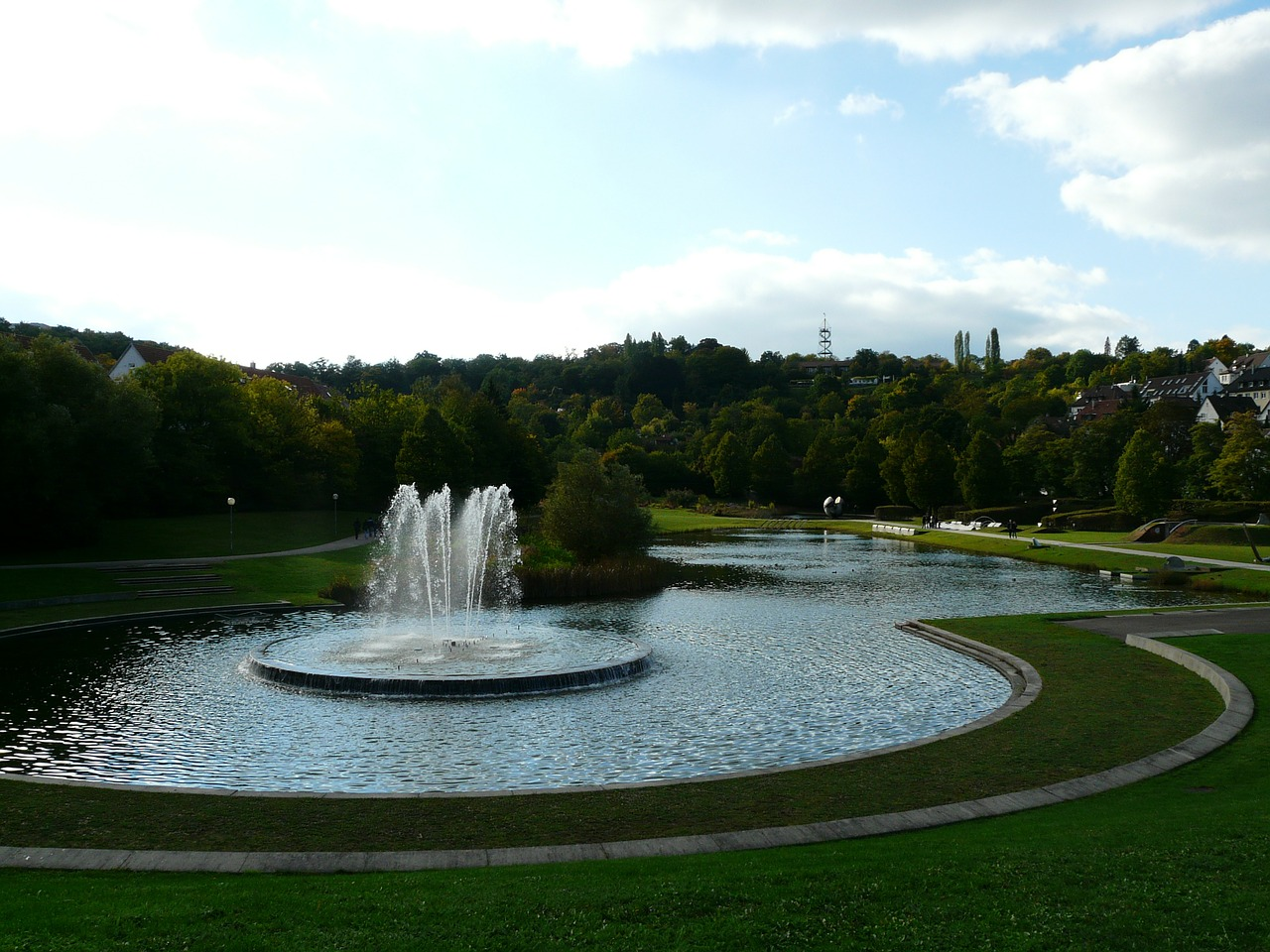 stuttgart fountain rose stone park free photo