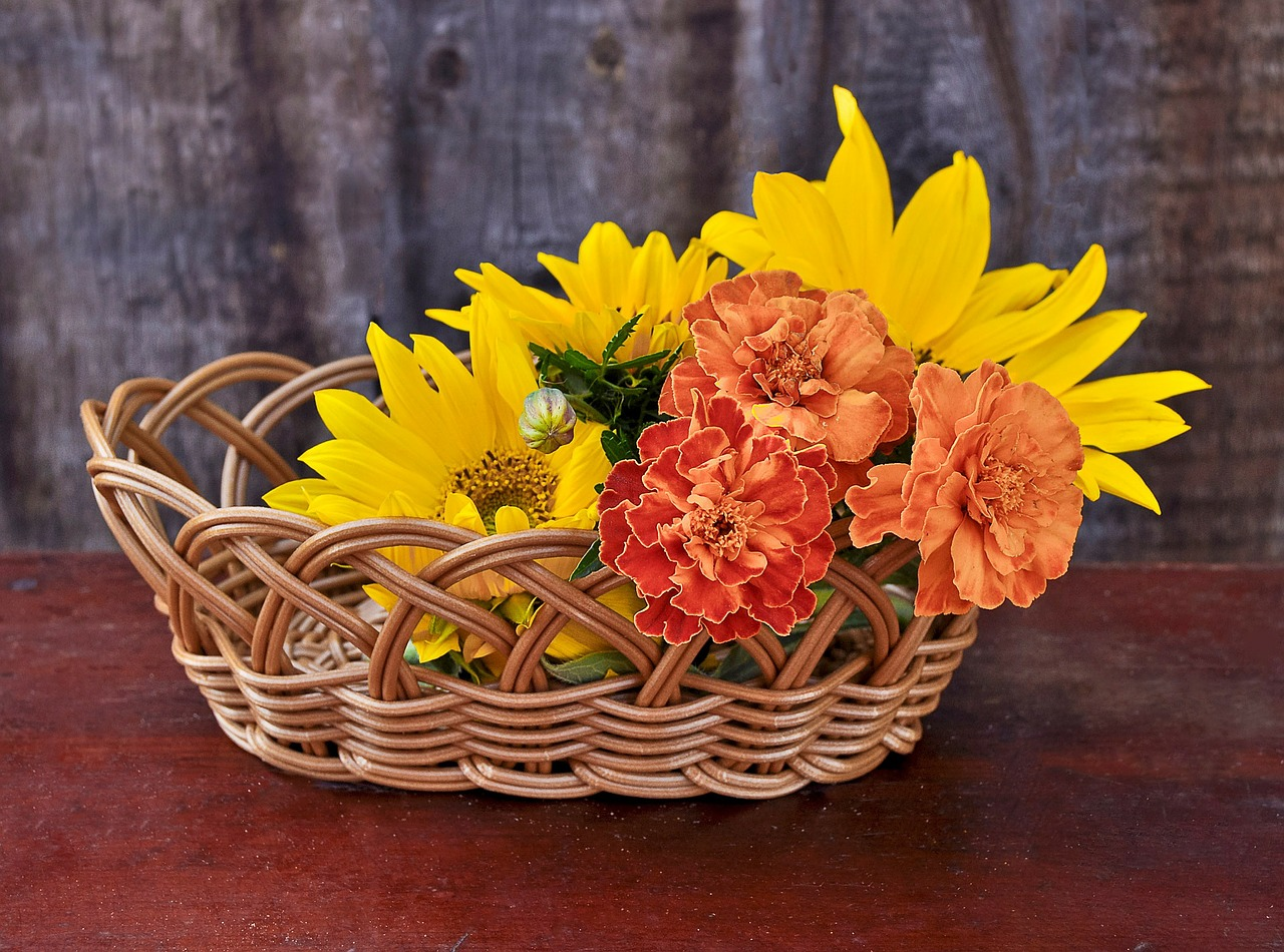 sunflowers flowers basket free photo