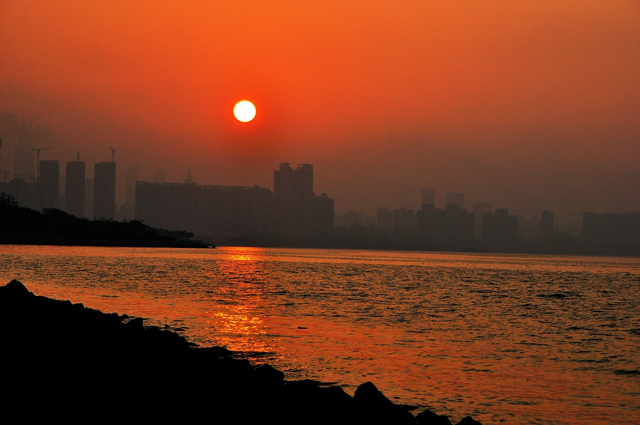 sunrise shenzhen bay free photo