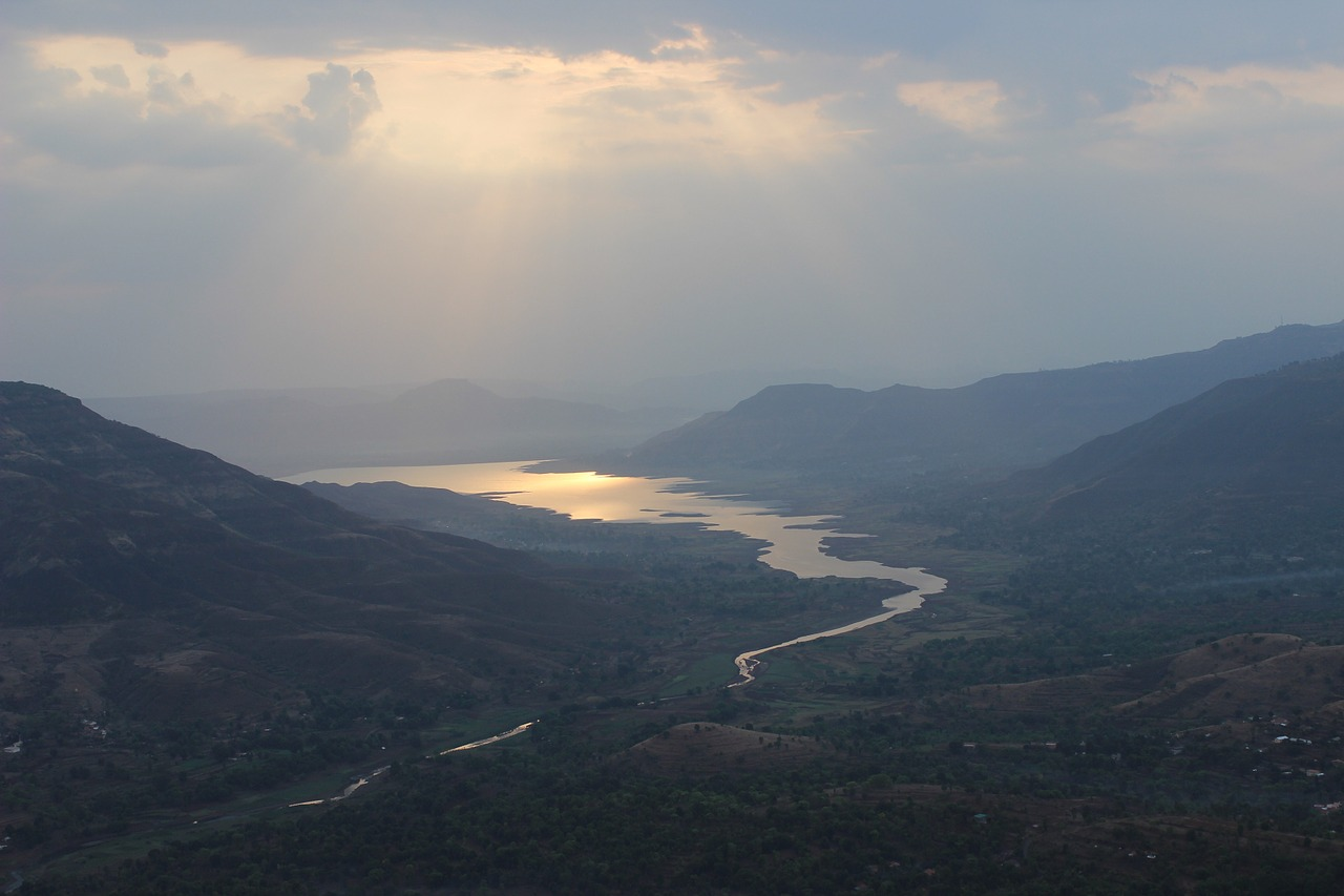 sunrise mahabaleshwar dam backwater free photo