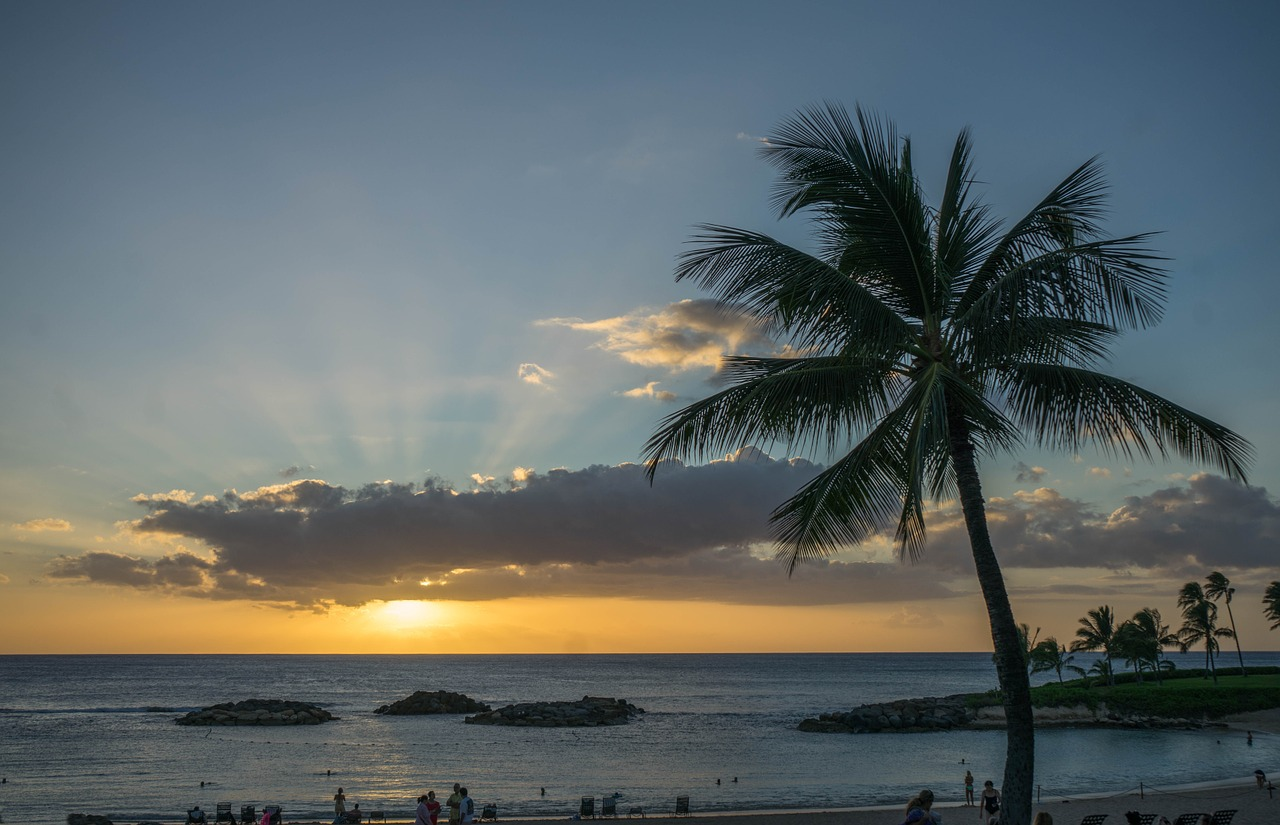 sunset hawaii oahu free picture